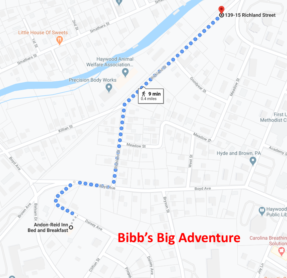 A map of Bibb's Journey