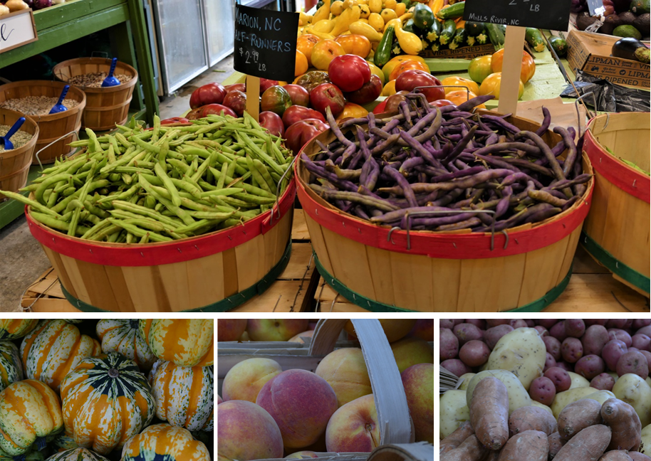Four Pictures, local beans for sale in baskets, local squash, local peaches, local multicolored potatoes