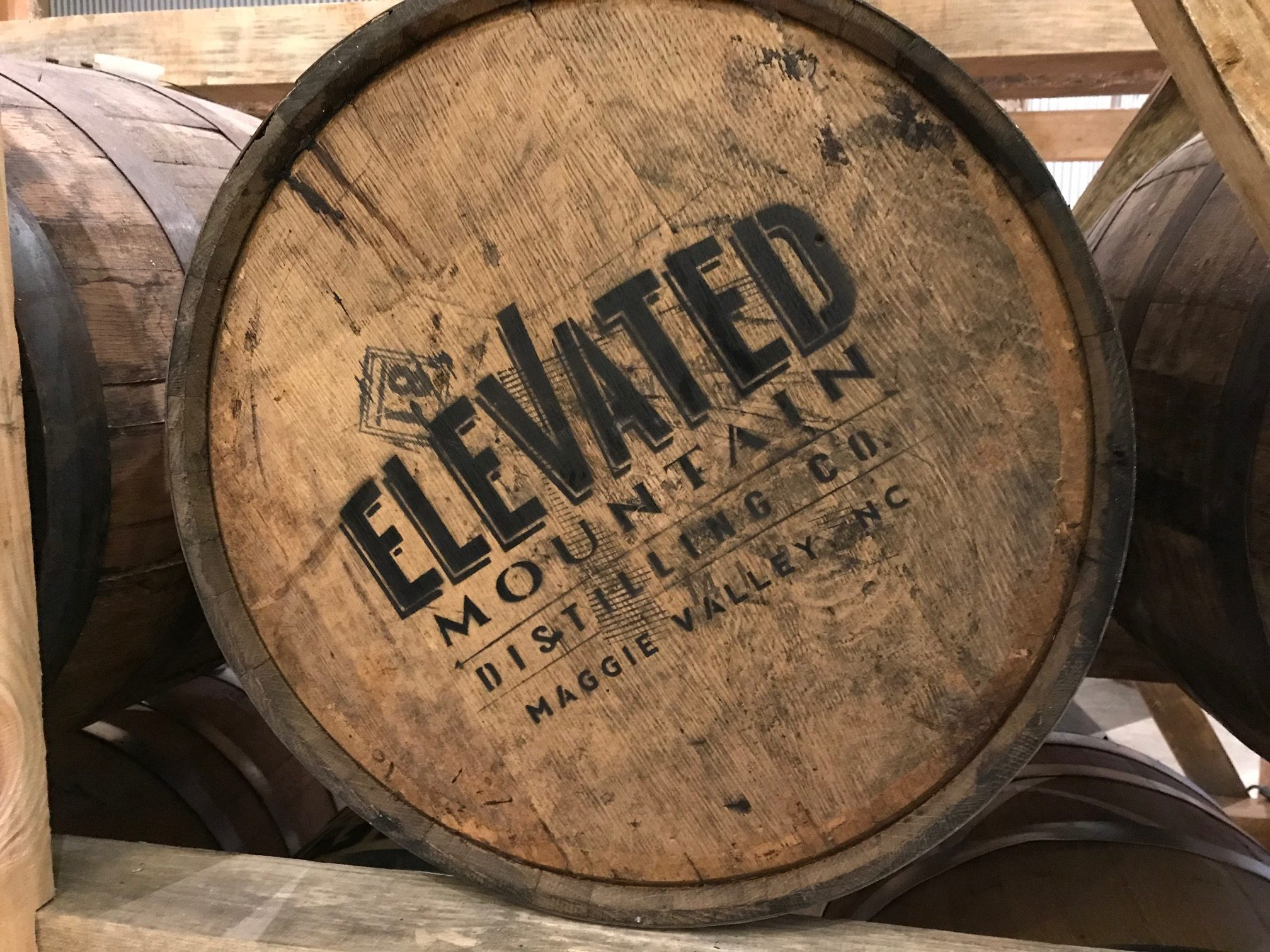 A barrel of Elevated Mountain Distilling moonshine