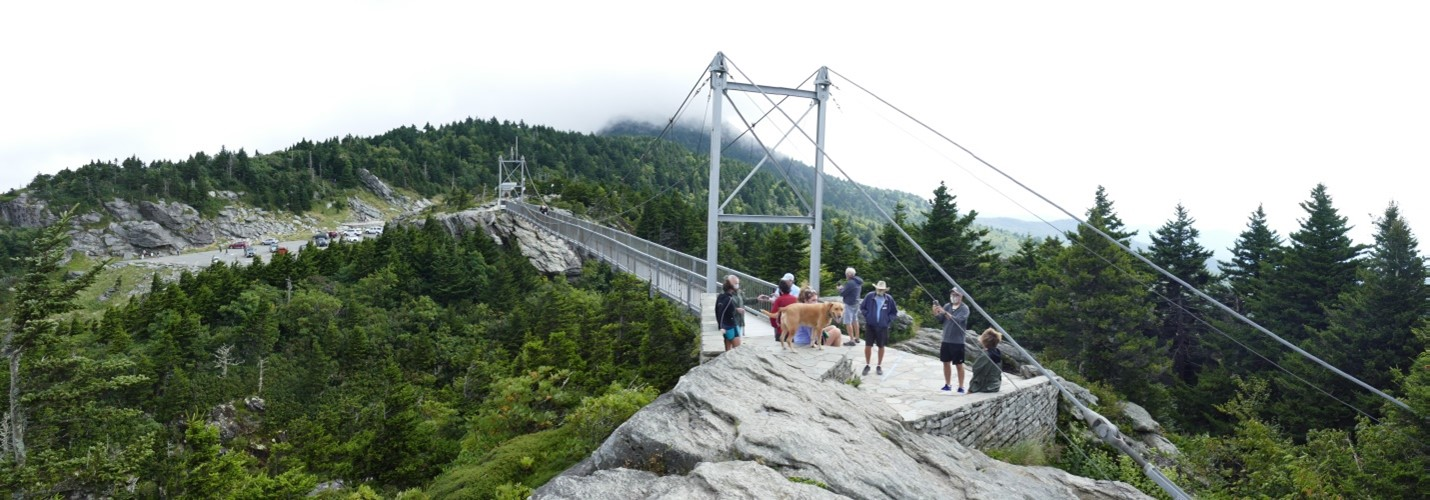View of span of Mile high bridge at Grandfather Mountain