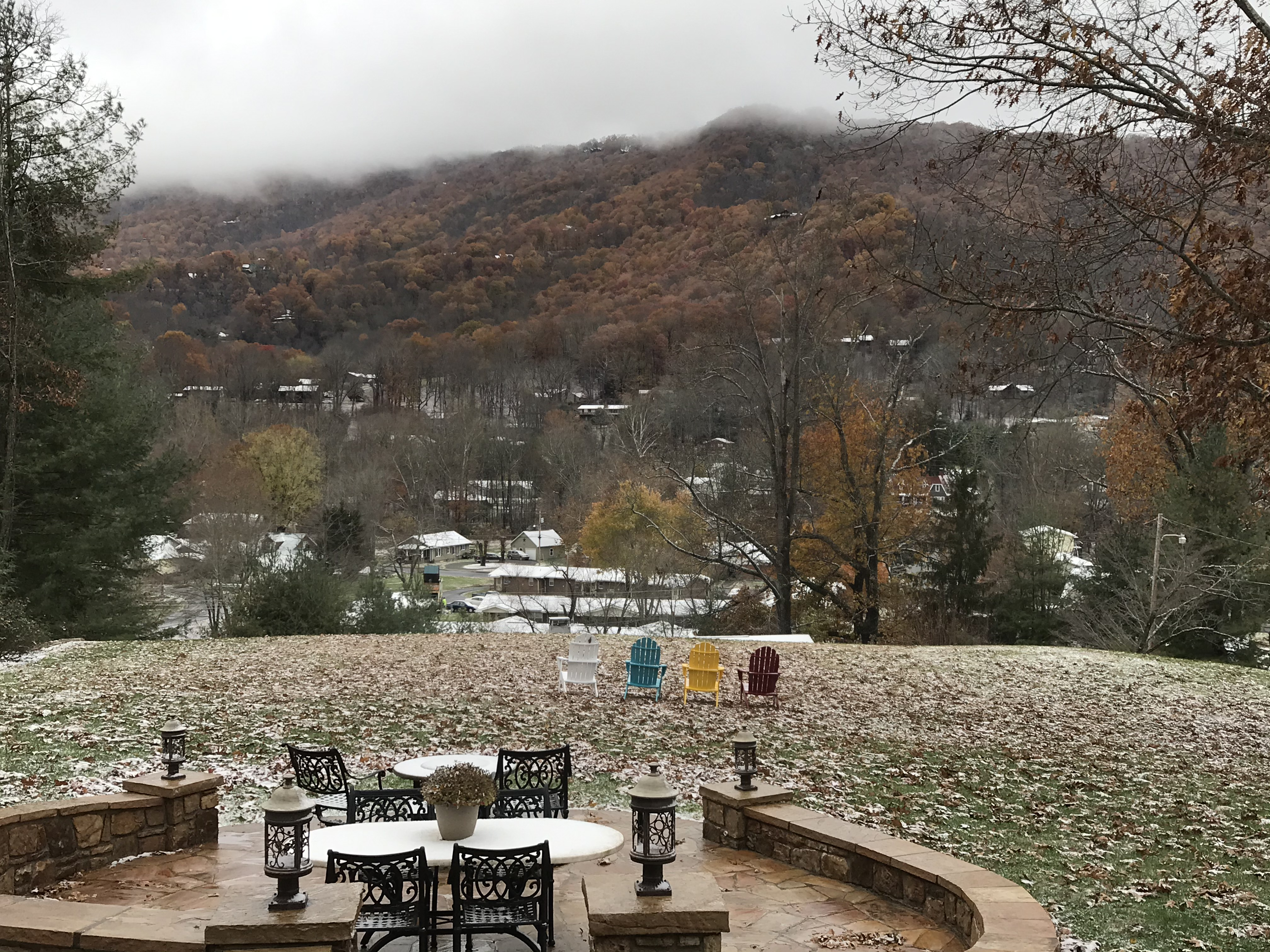 Snowy mountain view from Andon-Reid Inn porch
