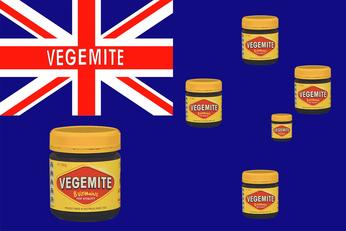 Australian Flag with images of Vegemite jars replacing the stars