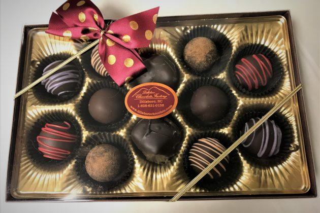 A box of 12 artisan chocolate truffles