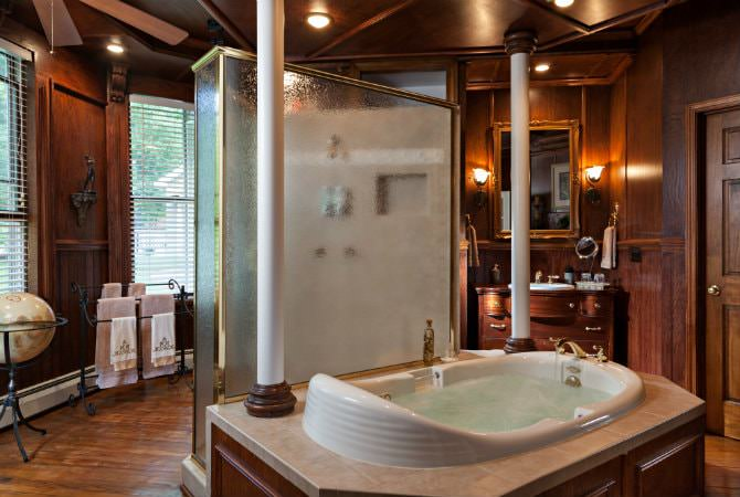 Wood paneled bathroom, walk-in shower, soaking tub, lots of natural light