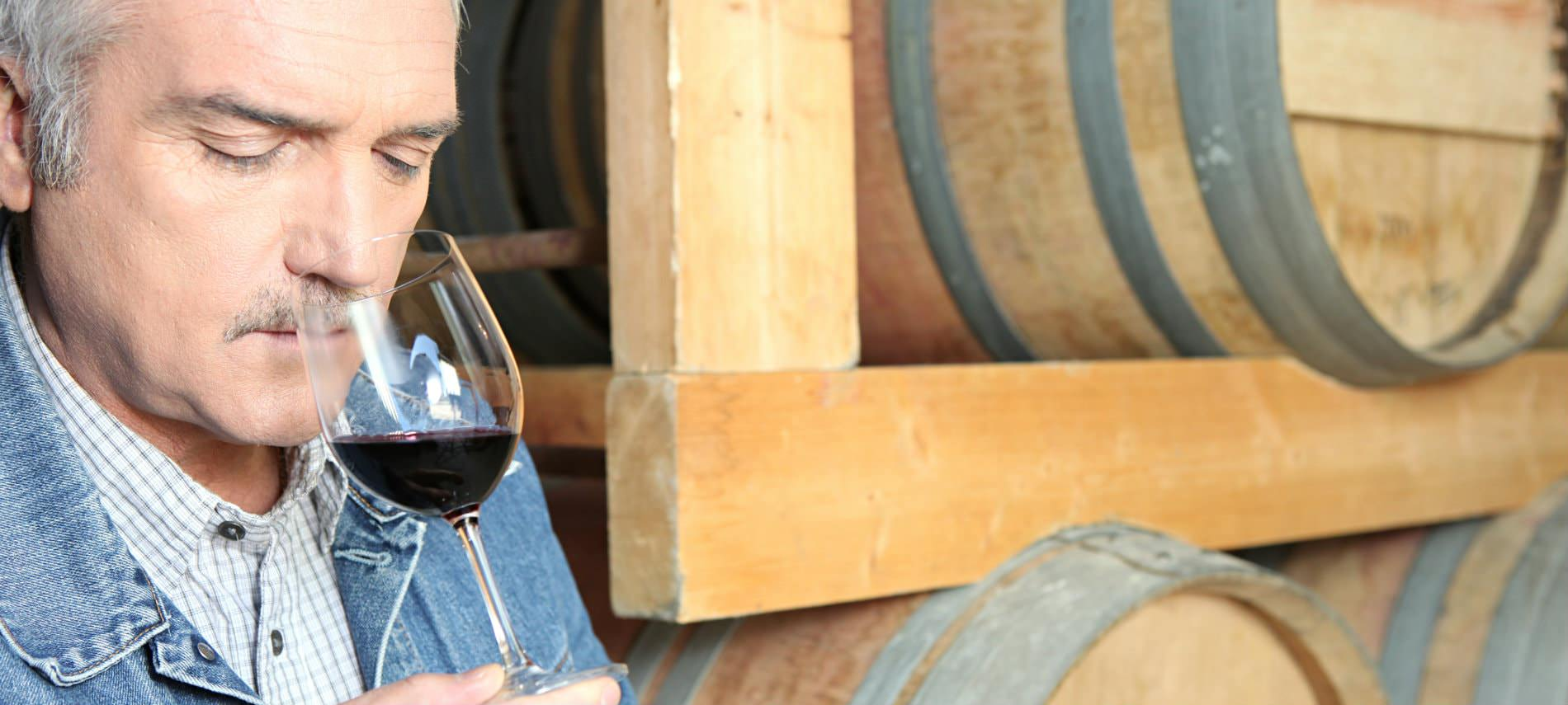 Man with grey hair and mustache sniffing a glass of purple-red wine with wine barrels in the background